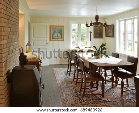 Old Style Dining Room Interior Area With Bright Walls The Around 100 Years