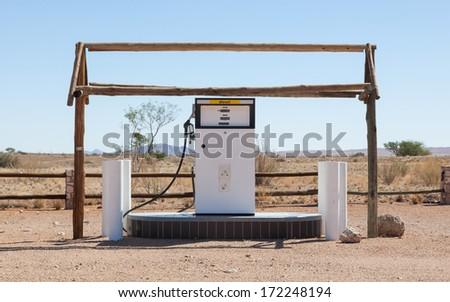 Old style fuel pump, Namib desert, Namibia - stock photo
