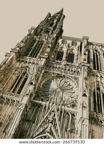 Old-style illustrated sepia-colored bottom-up front view of the facade of the Cathedral of Our Lady in Strasbourg (Alsace, France) - stock photo