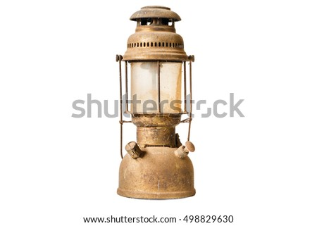 Old style lantern isolated on white background.