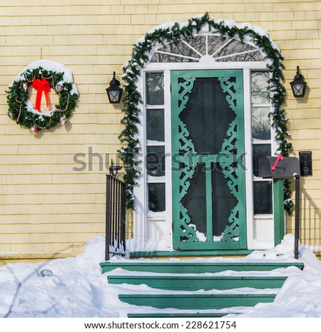 Old style north american home decorated for Christmas. - stock photo