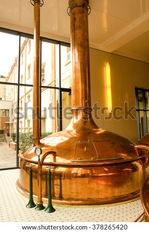 Old style of brewing beer. Nineteenth Century - stock photo