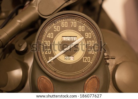 Old style of motorcycle speedometer, American army motorcycle from WWII