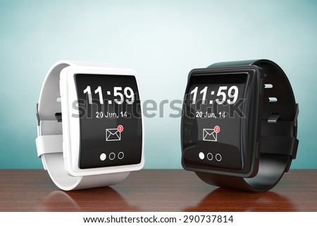 Old Style Photo. Big conceptual smart watches on the table - stock photo