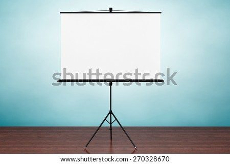 Old Style Photo. Blank Projection Screen on the table - stock photo