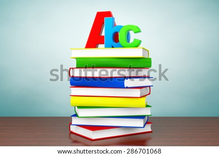 Old Style Photo. Books with ABC sign on the table - stock photo