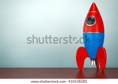 Old Style Photo. Childs Toy Rocket on the table. 3d rendering - stock photo