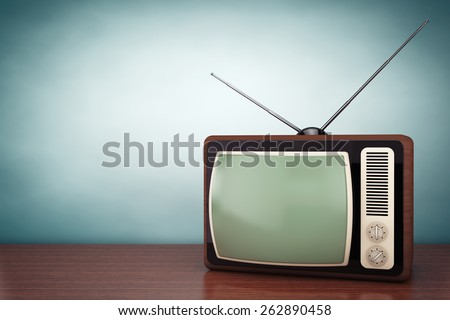 Old Style Photo. Classic vintage TV on the table - stock photo