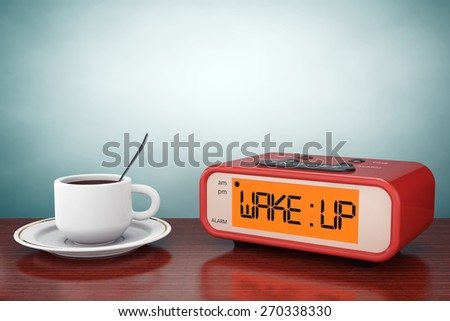 Old Style Photo. Digital Alarm Clock with Coffee Cup on the table - stock photo