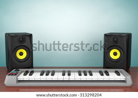 Old Style Photo. Digital Piano Synthesizer with Audio Speakers on the table - stock photo