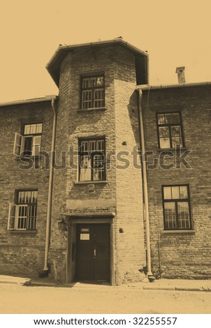 Old style photo of Auschwitz camp - stock photo