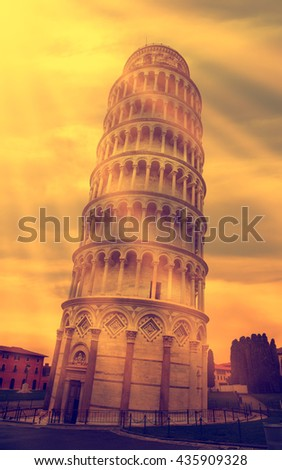 Old style photo of Leaning Tower of Pisa in Italy. - stock photo