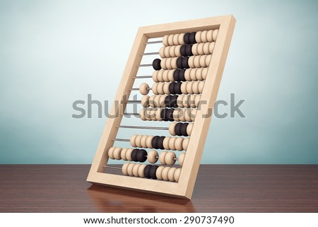 Old Style Photo.  Vintage wooden abacus on the table - stock photo