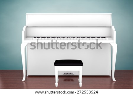 Old Style Photo. White Piano on the wooden floor - stock photo