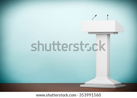 Old Style Photo. White Podium Tribune Rostrum Stand with Microphones on the floor - stock photo