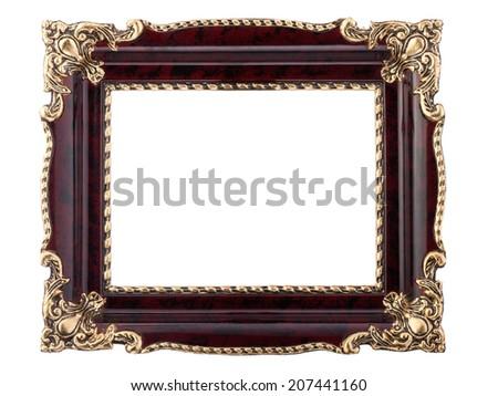 Old style rectangular shiny mahogany frame with golden decoration - studio isolated on white. - stock photo