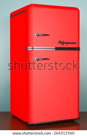 Old Style Retro refrigerator on the floor - stock photo