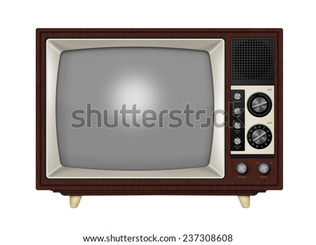 Old style retro tube TV with frequency knobs and wooden style casing. Isolated on a white background with clipping path. - stock photo