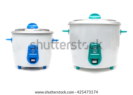 Old Style Rice Cookers on white background. - stock photo