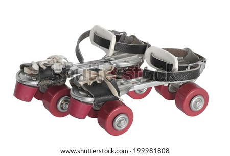 Old style roller skate on white background. - stock photo