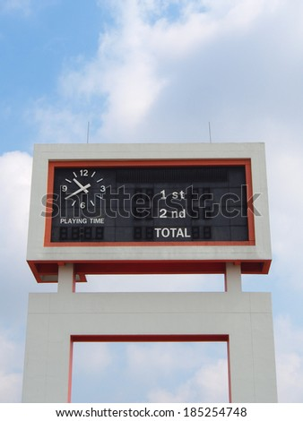 old style score board at football stadium with bluesky - stock photo