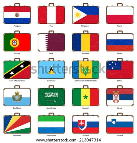 old style suitcase with flag - stock photo