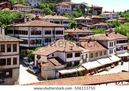 Old style Turkish konak country houses with tiled rooves in  Safranbolu, Turkey