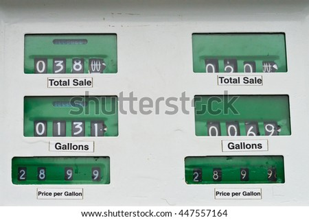 Old style white gas pump with readings in green - stock photo