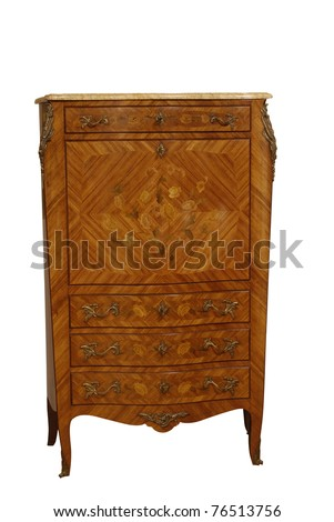 old style wooden library case - stock photo