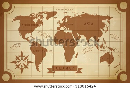 Old style world map vintage document travel poster  illustration - stock photo