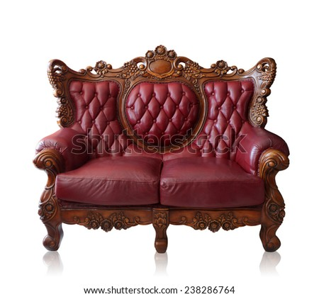 Old styled brown vintage armchair isolated on white background, clipping path. - stock photo