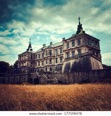 Old stylized Pidhirtsi Castle, village Podgortsy, Renaissance Palace, Lviv region, Ukraine - stock photo