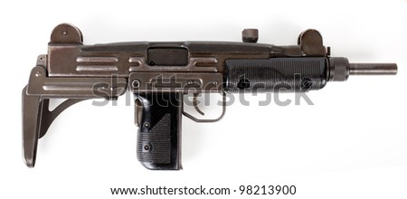 old  submachine gun isolated on white background - stock photo