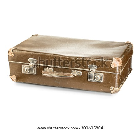 old suitcase close-up isolated on a white background - stock photo