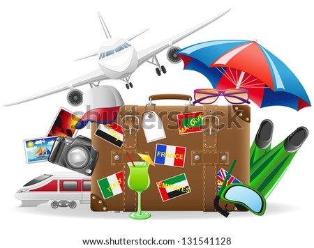 old suitcase for travel and elements for a summer recreation illustration isolated on white background - stock photo