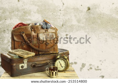 old suitcase in retro style - stock photo