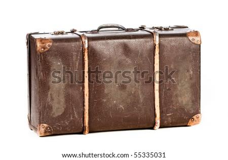 old suitcase isolate - stock photo