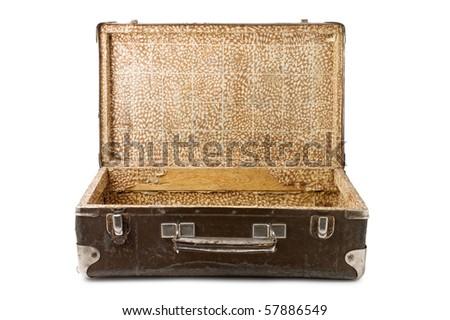 old suitcase isolated on white background - stock photo