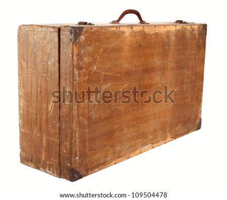 Old suitcase on a white background - stock photo