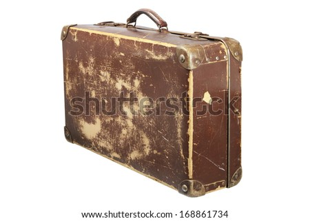 Old Suitcase on White Background - stock photo