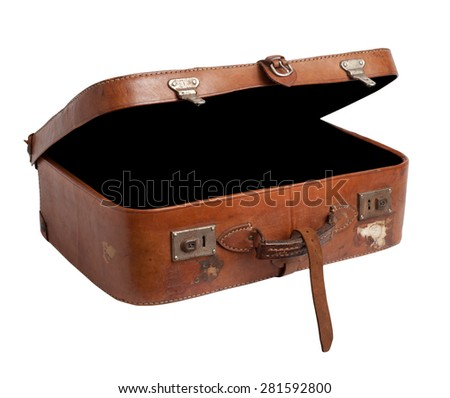 Old suitcase on white background, clipping path. - stock photo