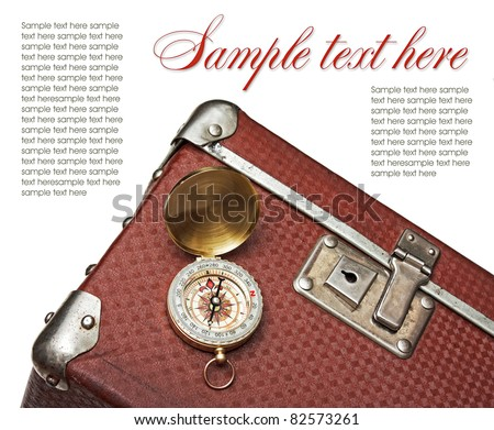 old suitcase with a compass isolate on a white background - stock photo