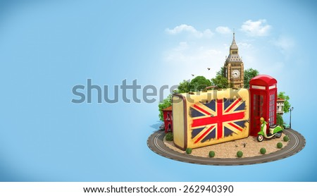 Old suitcase with british flag, Big Ben and red phone booth on a square. Unusual traveling concept. - stock photo