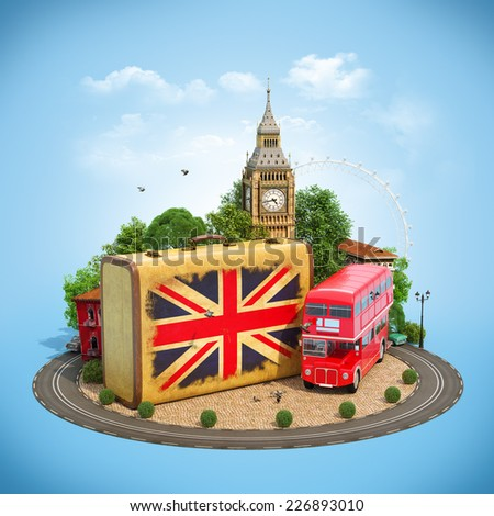 Old suitcase with british flag, Big Ben, double decker and red phone booth on a square. Unusual traveling concept. - stock photo