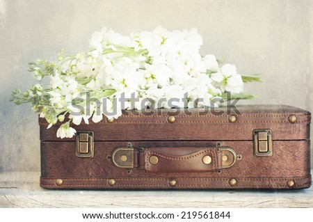 Old suitcase with flowers - stock photo