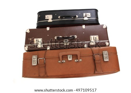 old suitcases isolated on the white background
