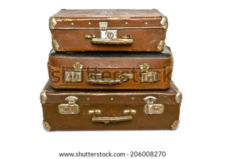 old suitcases on white background