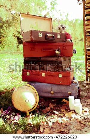 Old suitcases stand on the ground covered with fallen leaves