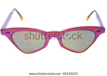 old sunglasses isolated on white background