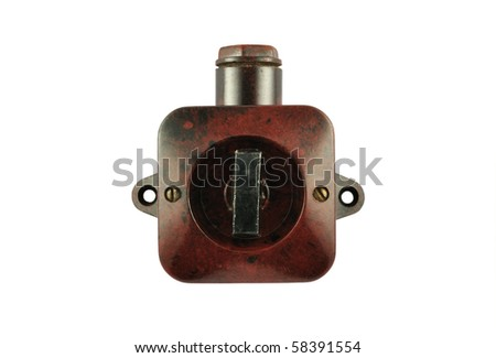 old switch isolated on white background - stock photo